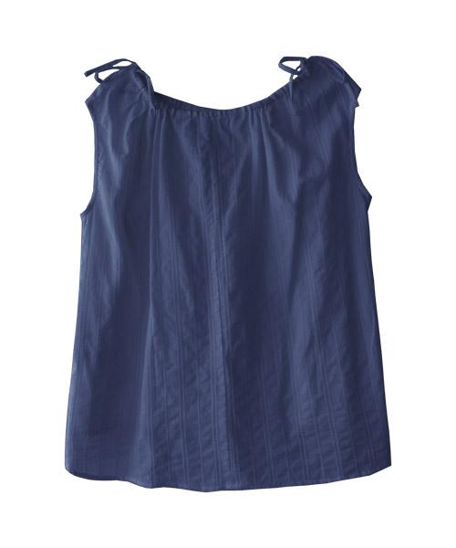 肩リボン エンブロイダリーブラウス ノースリーブ/2カラー