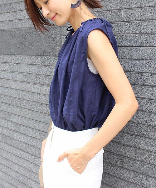 【SALE】肩リボン エンブロイダリーブラウス ノースリーブ/2カラー