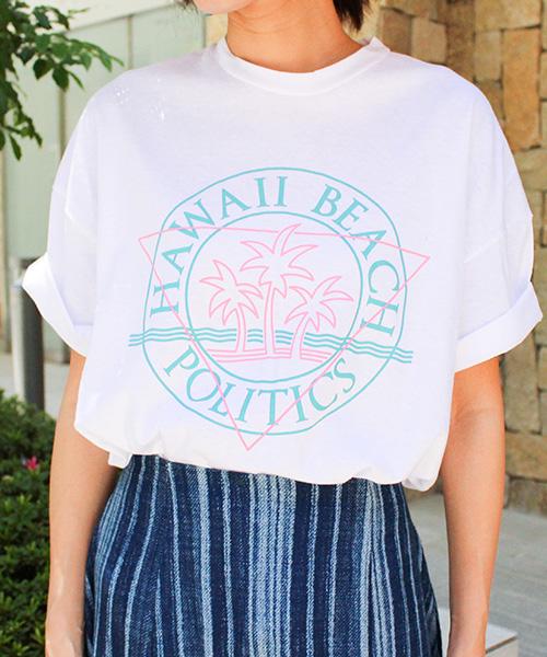 ハワイプリントTシャツ/2カラー