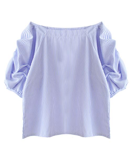 フレアボートネックシャツ/3カラー