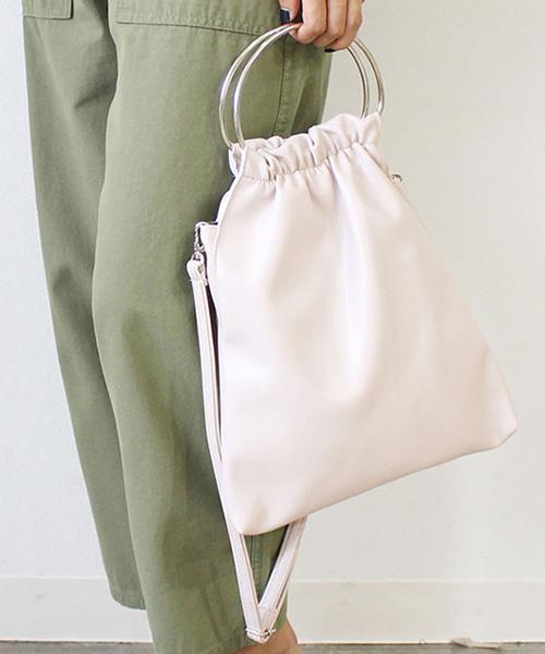 【SALE】リングハンドルギャザーバッグ/2カラー
