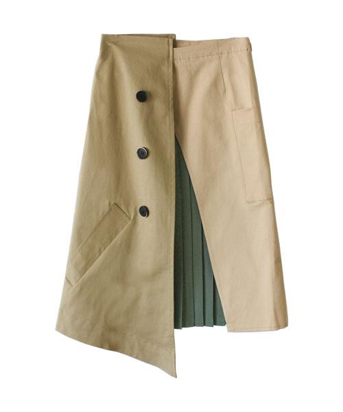 トレンチ×プリーツドッキングスカート/2カラー