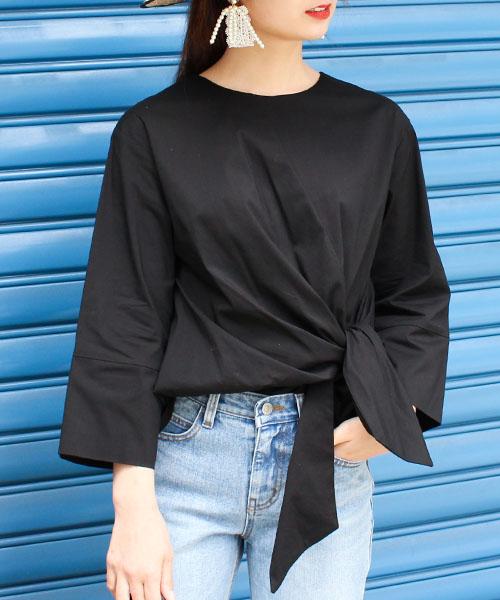 フロントリボン7分袖シャツ/2カラー