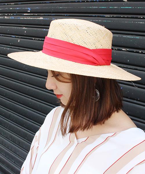 つば広カンカン帽/3カラー