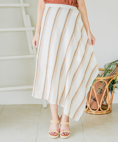 【SALE】ストライプラップスカート/2カラー