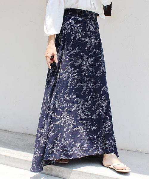 【SALE】リーフ柄フレアロングスカート/3カラー