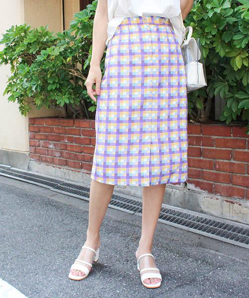 【SALE】マルチカラータイトスカート/2カラー