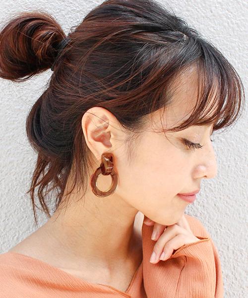 べっ甲風サークルピアス・イヤリング/各4カラー