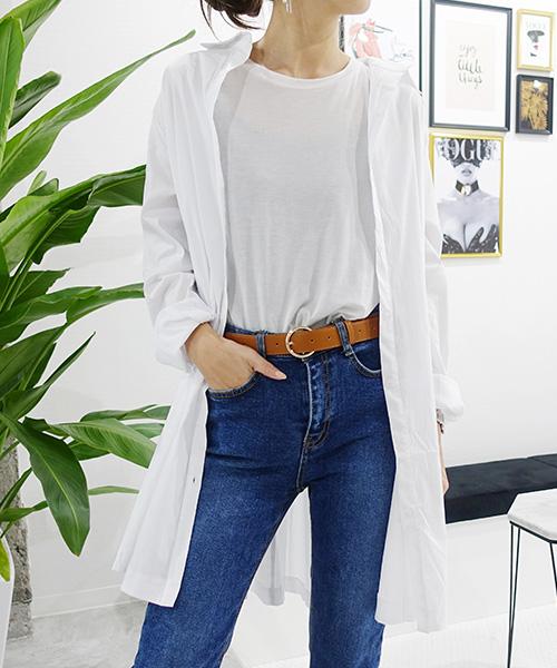 【SALE】ベルト付きロングシャツ/2カラー