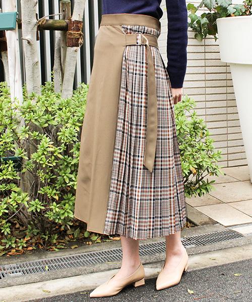 チェック配色スカート/2カラー