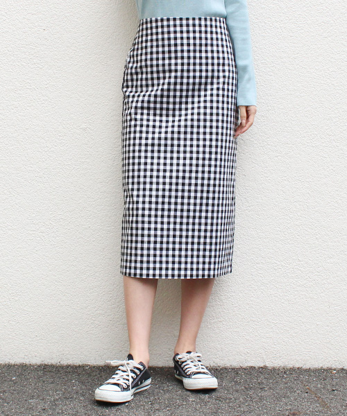 ギンガムチェックタイトスカート/3カラー