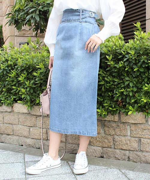 【SALE】ベルトナロースカート/5カラー