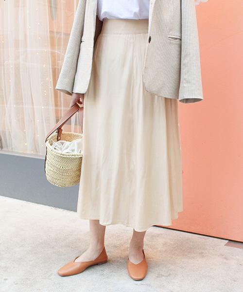 サテン風フレアスカート/3カラー