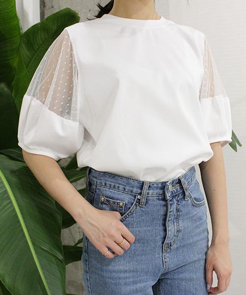 【SALE】ドットチュールスリーブTシャツ/2カラー