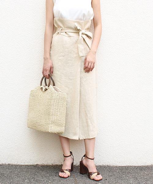 【SALE】ラップリネンタイトスカート/2カラー