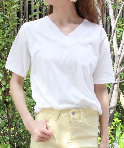Vネック半袖Tシャツ/3カラー