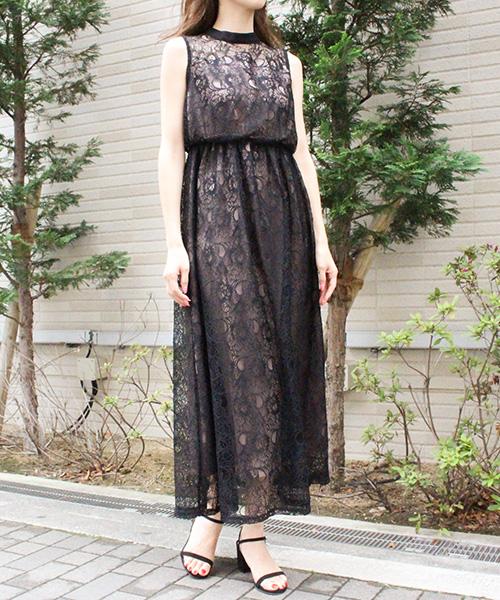 【SALE】パネルレースドレス/2カラー