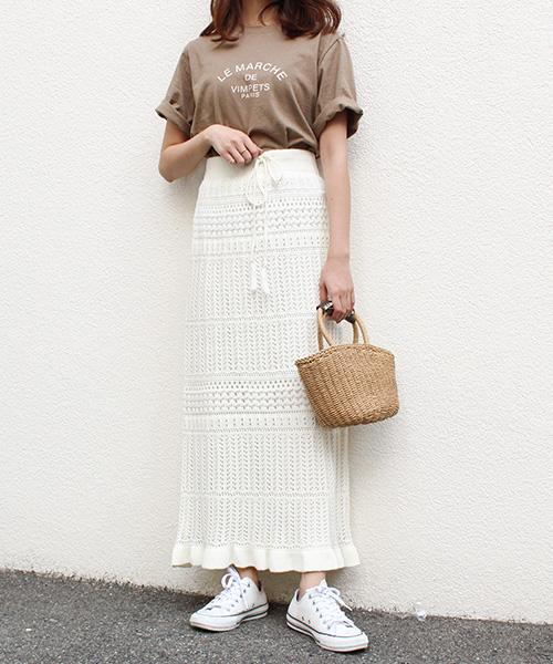 クロシェ編みニットスカート/3カラー