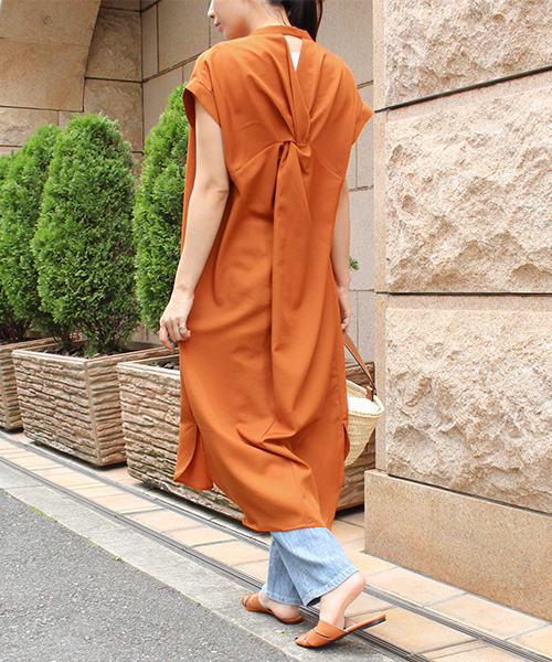 【SALE】バックツイストシャツワンピース/4カラー