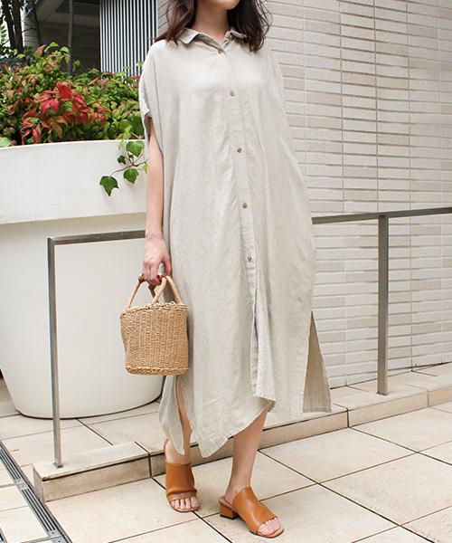 【SALE】リネン混ロングシャツ/2カラー