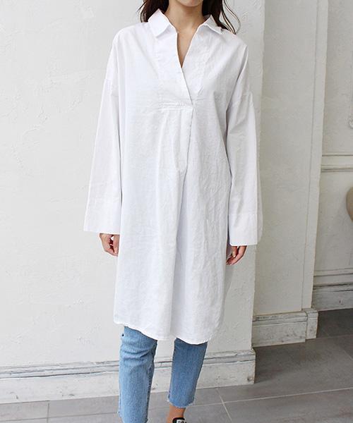 【SALE】Vネックロングシャツ/2カラー
