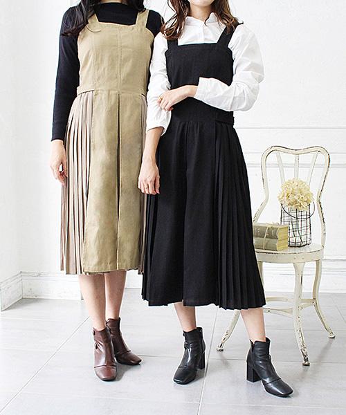 【SALE】サイドプリーツジャンパースカート/3カラー