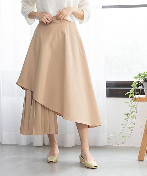【SALE】アシンメトリーサイドプリーツスカート/2カラー