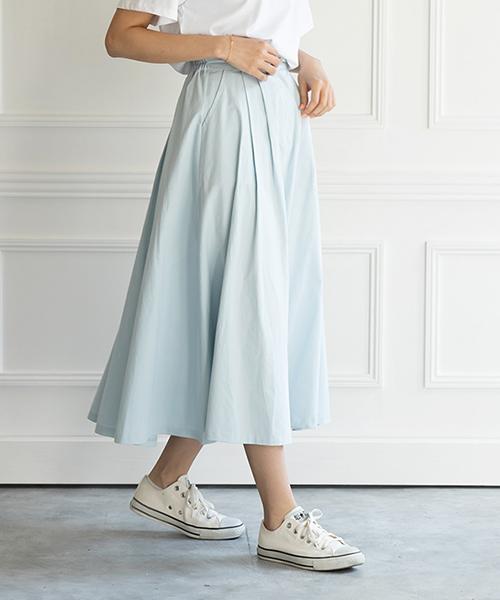 【SALE】ボリュームフレアチノスカート/2カラー