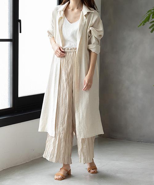 【SALE】リネンライクロングシャツ/2カラー