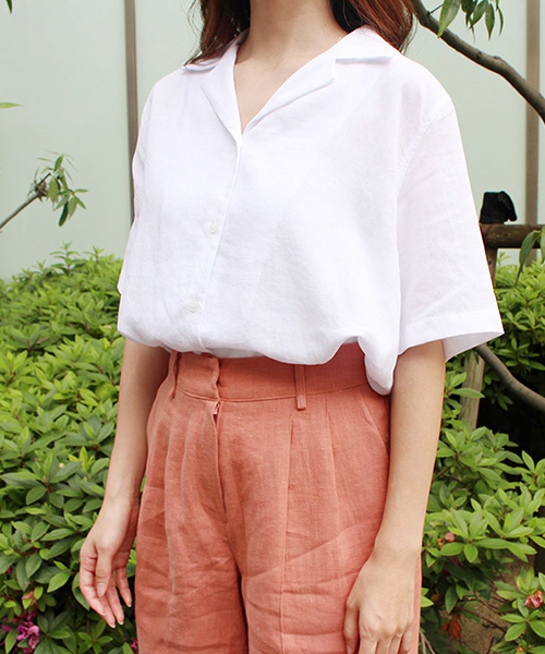 【SALE】リネンオープンカラーシャツ/2カラー