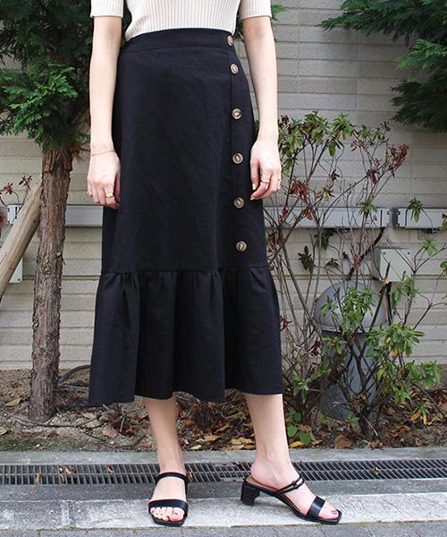 【SALE】サイドボタンデザインスカート/2カラー