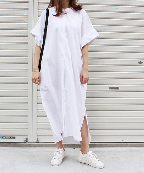 【SALE】コットンシャツワンピース/2カラー