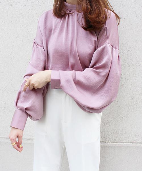 【SALE】サテンボリュームスリーブシャツ/2カラー