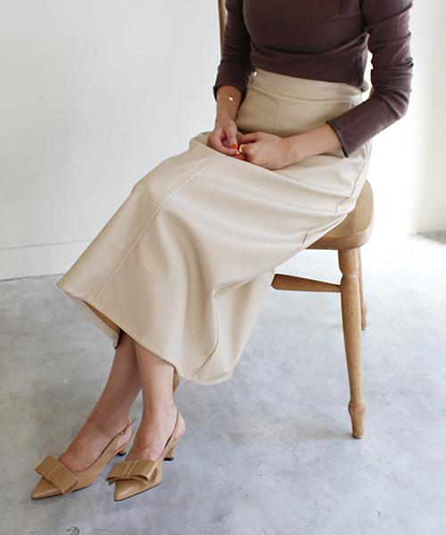 フェイクレザースカート/2カラー