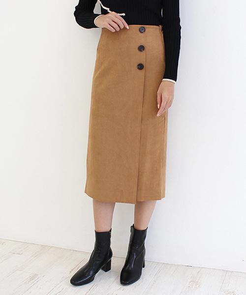 【SALE】スウェードボタンスカート/4カラー
