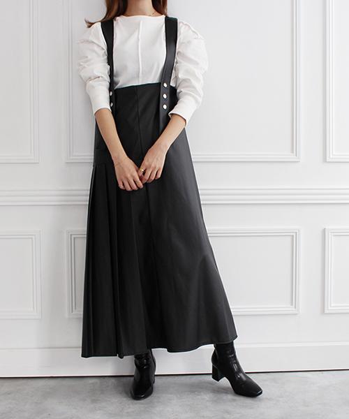 2WAYレザープリーツジャンパースカート/2カラー