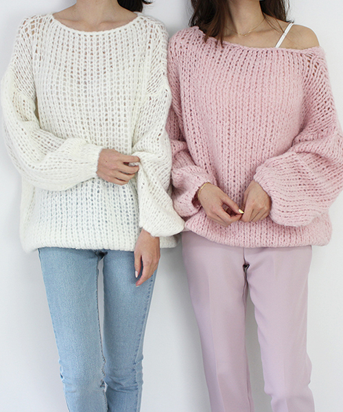 かぎ編みゆるニット/4カラー