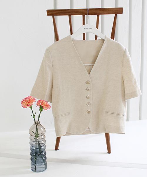5ボタンリネンシャツジャケット/1カラー