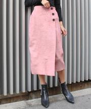 スウェードボタンスカート/5カラー
