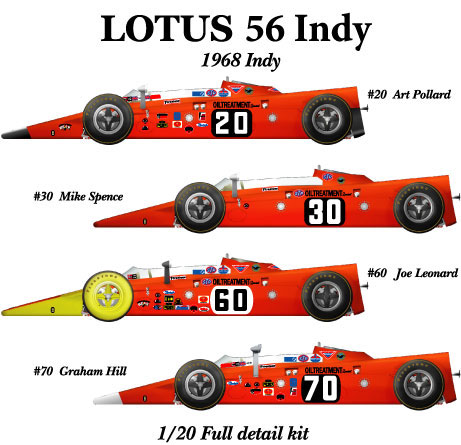 1/20scale Fulldetail Kit : Lotus 56 Indy