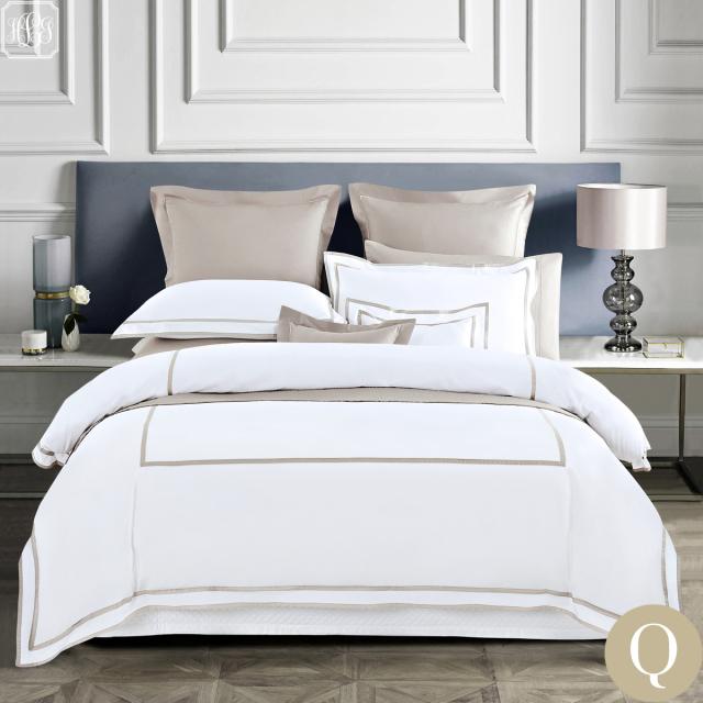 [Renewal]クイーン | ボックスシーツ1枚 | 掛け布団カバー1枚 | 包み型スタンダード枕カバー2枚 | 400TC ホテル