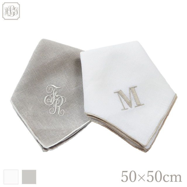 フレンチリネン トリム ハンカチ   50×50cm