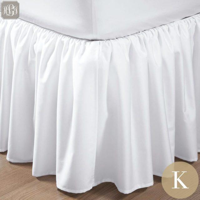 ベッドスカート | キング | 180x200cm | 高さ25cm | 400TC  ギャザードベッドスカート |