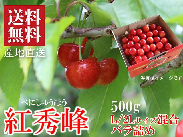 山形さくらんぼ 紅秀峰 L/2Lサイズ混合 500g バラ箱詰め 新庄産 露地栽培 送料無料