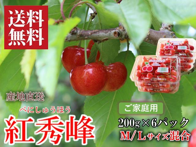 さくらんぼ 紅秀峰 M/Lサイズ混合 200g×6パック バラ詰 新庄産 露地栽培