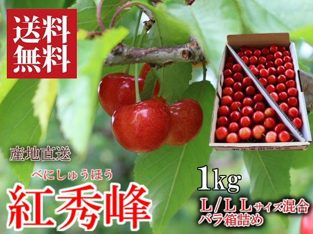 さくらんぼ 紅秀峰 L/LLサイズ混合 1kg バラ箱詰め 新庄産 露地栽培
