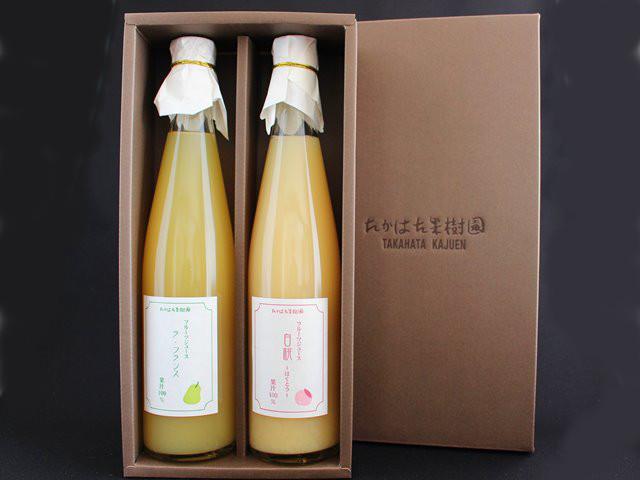 フルーツジュース 2本セット ラ・フランス/白桃 果汁100% 500ml×2