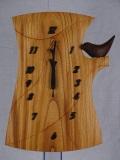 手作り木製電波掛け時計 けやき とり