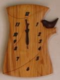手作り木製電波掛け時計 ケヤキ とり