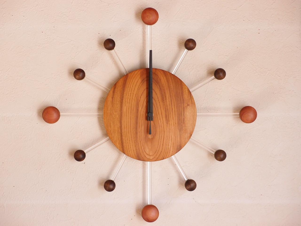手作り木製電波掛け時計 ケヤキ